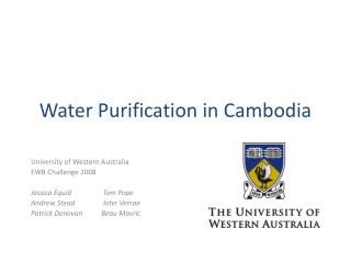 Water Purification in Cambodia