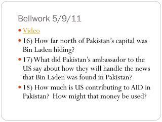 Bellwork 5/9/11