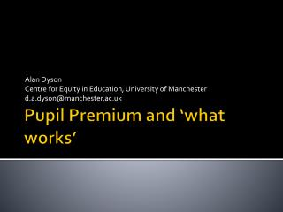 Pupil Premium and 'what works'