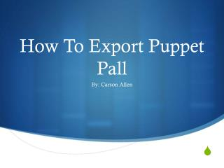 How To Export Puppet Pall