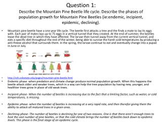 3. What  is the niche of the Mountain Pine Beetle?