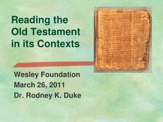 Reading the Old Testament in its Contexts