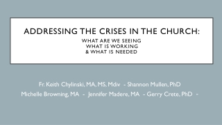 Addressing the Crises in the Church : What are we seeing what is working & what is needed