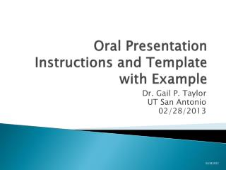 Oral  Presentation Instructions and Template with Example