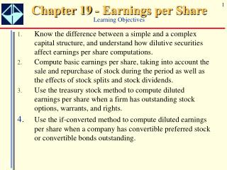 Chapter 19 - Earnings per Share Learning Objectives