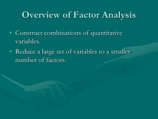 Overview of Factor Analysis