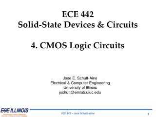 ECE 442 Solid-State Devices & Circuits 4.  CMOS Logic Circuits