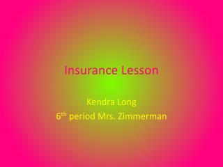 Insurance Lesson