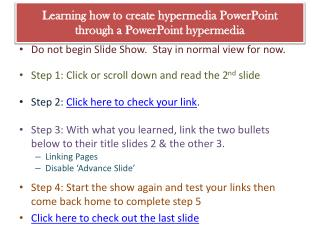 Learning how to create hypermedia PowerPoint  through a PowerPoint hypermedia