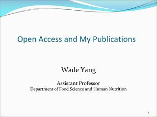 Open Access and My Publications