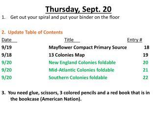 Thursday , Sept. 20