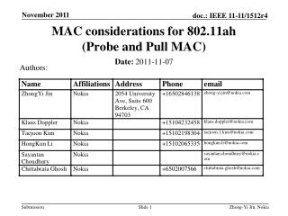 MAC considerations for 802.11ah (Probe  and Pull  MAC)