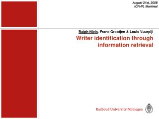 Writer identification through information retrieval