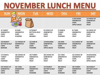 NOVEMBER LUNCH MENU