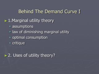Behind The Demand Curve I