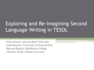 Exploring and Re-imagining Second Language Writing in TESOL
