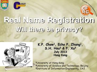 Real Name Registration Will there be privacy?