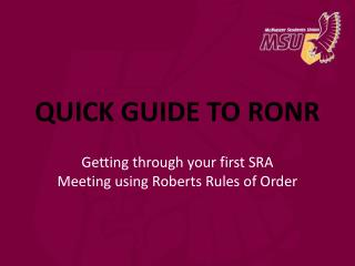 QUICK GUIDE TO RONR