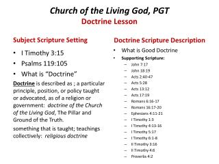Church of the Living God, PGT Doctrine Lesson