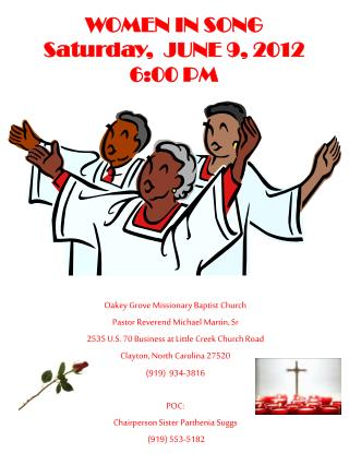 WOMEN IN SONG Saturday,  JUNE  9, 2012  6:00 PM