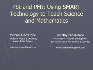 PSI and PMI: Using SMART Technology to Teach Science and Mathematics