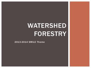 Watershed Forestry