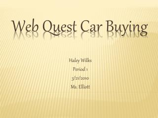 Web Quest Car Buying