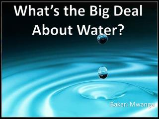 What's  the Big Deal About Water?