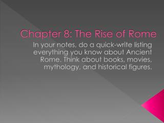 Chapter 8: The Rise of Rome
