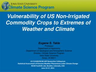 Vulnerability of US Non-Irrigated Commodity Crops to Extremes of Weather and Climate