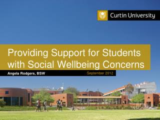 Providing Support for Students with Social Wellbeing Concerns