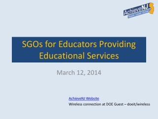 SGOs for Educators  Providing Educational Services