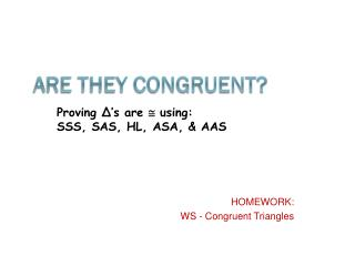 Are They Congruent?