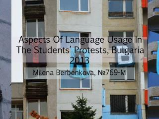 Aspects Of Language Usage In The Students' Protests, Bulgaria 2013
