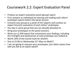 Coursework 2.2: Expert Evaluation Panel