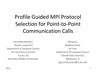 Profile Guided MPI Protocol Selection for Point-to-Point Communication Calls