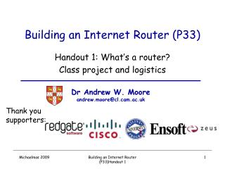Building an Internet Router (P33)