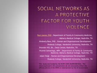 Social networks as a protective factor for youth violence