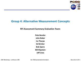Group 4: Alternative Measurement Concepts
