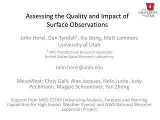 Assessing the Quality and Impact of  Surface Observations