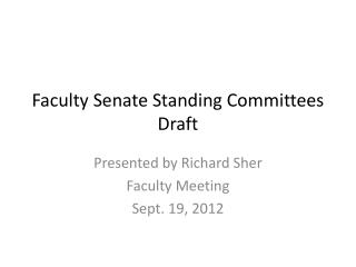 Faculty Senate Standing Committees Draft