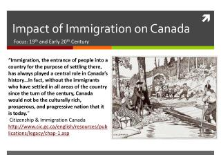 Impact of Immigration on Canada
