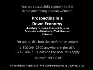 You are successfully signed into the Radio Advertising Bureau webinar:
