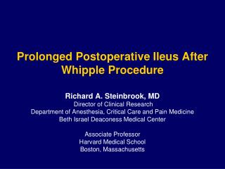 Prolonged Postoperative  Ileus After  Whipple Procedure