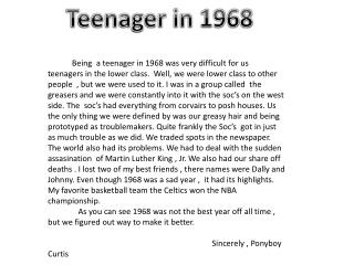 Teenager in 1968