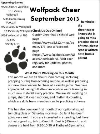 Wolfpack Cheer September 2013