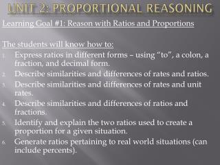 Unit 2: Proportional Reasoning