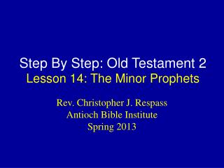 Step By Step: Old Testament 2 Lesson  14: The Minor Prophets