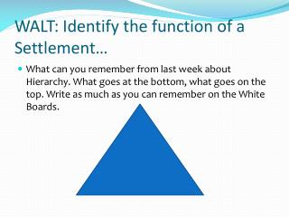 WALT: Identify the function of a Settlement…