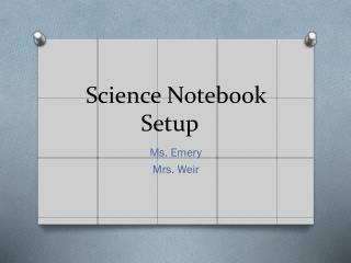 Science Notebook Setup